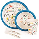 boppi 5-Piece Bamboo Eco Friendly Children's Dinnerware and Cutlery Set for kids Toddlers with...