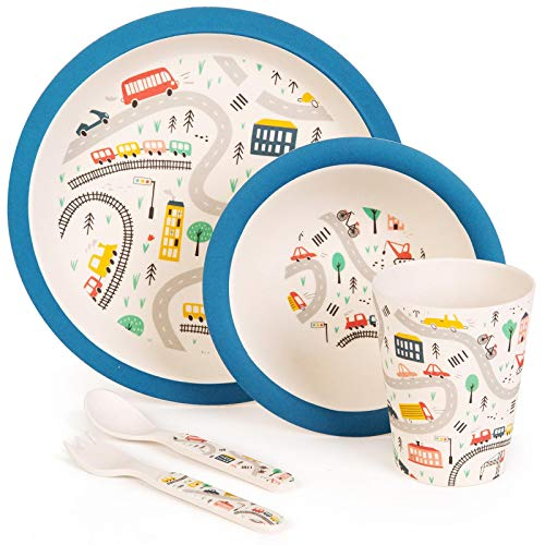 boppi 5-Piece Bamboo Eco Friendly Children's Dinnerware and Cutlery Set for Kids Toddlers with Dishwasher Safe and BPA Free Round Plate Fruit Cereal Bowl Juice Cup Beaker Fork and Spoon - Cars