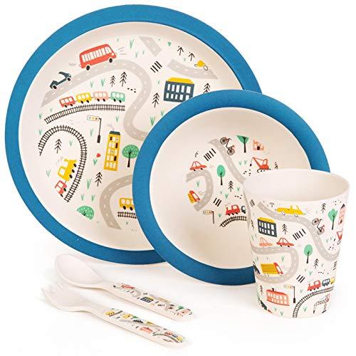 Boppi - Juego de vajilla y cubiertos de bambú ecológicos para niños pequeños con lavavajillas y plato redondo libre de BPA, taza de zumo y taza de vaso de vaso y cuchara - Coches