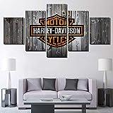 BOYH Drucke auf Leinwand 5 Platten Harley Davidson Motorrad Fahrrad Poster HD Moderne Wandkunst...