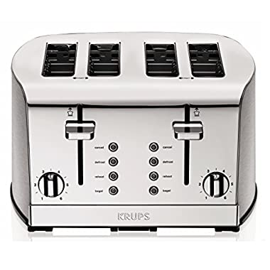 KRUPS 1500578368 KH734D Breakfast Set 4-Slot Toaster with Brushed and Chrome Stainless Steel Housing, 4-Slices, Silver
