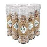 Maldon Salt, Smoked Sea Salt Grinder, 55 g, 6 Count, Refillable and Adjustable, Kosher, Natural, Handcrafted, Gently Smoked Over Oak, Pyramid Crystals