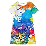 Shan-S Teen Kids Baby Girls Short Sleeve Watercolor Cartoon 3D Digital Cat Print Loose T-Shirt Dress for 7-12 Years Old