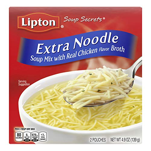 Lipton Soup Secrets Instant Soup Mix For a Warm Bowl of Soup Extra Noodle Soup Made With Real Chicken Broth Flavor 4.9 oz 12 Count