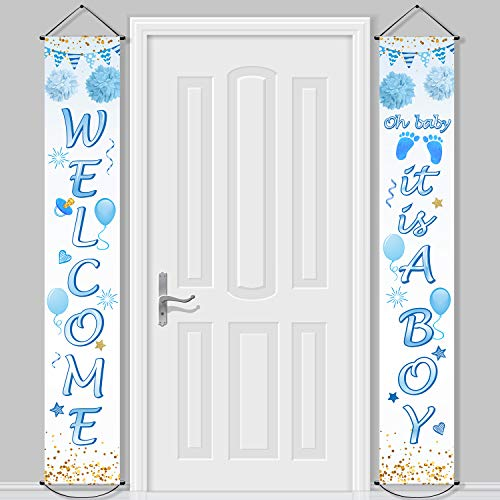 Baby Shower Decorations Welcome It is a Boy Banner Backdrop Background Door Hanging Porch Sign for Baby Shower Party Supplies, 71 x 12 Inch