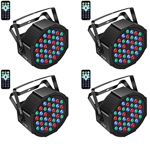 U`King Stage Lights 36 LED Par Lights Indoor for Party Disco Wedding With Remote and DMX Control Sound Activated RGB Party Lights (4 Pack)