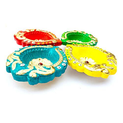G & D Set von 4 handgefertigten, traditionellen Ton-Diya-Sets Diwali Deepawali Earthen Öllampen mit Baumwolldochten, kann mit Öl, Ghee oder Teelicht verwendet werden, Kerzenhalter