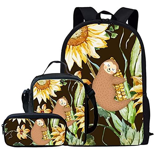 Renewold Paquete de 3 mochilas escolares para niños y niñas, bolsa de escuela, caja de almuerzo