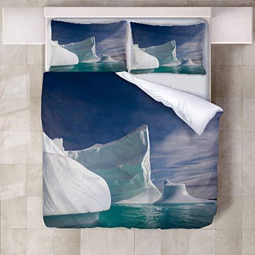 3D Ropa De Cama Iceberg,3 Piezas Microfibra Super Suave Comodo A Prueba De Polvo Poliéster Impresión De Ropa De Cama220X240Cm(1 Funda Nórdica + 2 Fundas De Almohada)