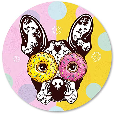 IMAYONDIA Cute French Bulldog Donut Dog Pattern Round Mouse Pad Personalized Design Mouse Pad Small Size Non-Slip Rubber Base Mousepad for Laptop & Computer