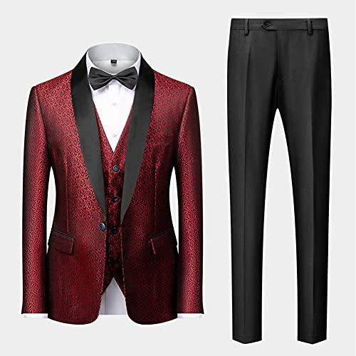 ZZABC (Traje + chaleco + pantalones) New Men's Business Casual Traje Traje Versión coreana Slim Bodas Traje Hombres Impreso de tres piezas (Color : Red, Size : 2XL 68-73kg)