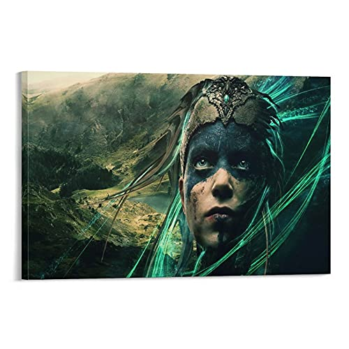 Poster su tela con stampa di video game Hellblade- Senua's Sacrifice di Senua, decorazione per camera da letto, 40 x 60 cm