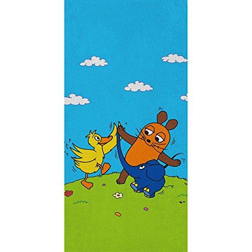 Großes Badetuch Die Sendung mit der Maus - Motiv Freunde - 75 x 150 cm 100% Baumwolle Strandlaken Badelaken Handtuch Strandtuch Saunatuch Maus + kleiner blauer Elefant + Ente passend zur Bettwäsche