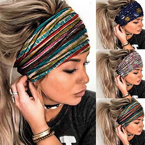 Sethexy Sport Breit Stirnbänder Druckstreifen-Design Stirnband Elastisch Rutschfest Haarband 3St Turban Kopfwickel Kopftuch Yoga Laufen Datum Stirnband Für Frauen und Mädchen