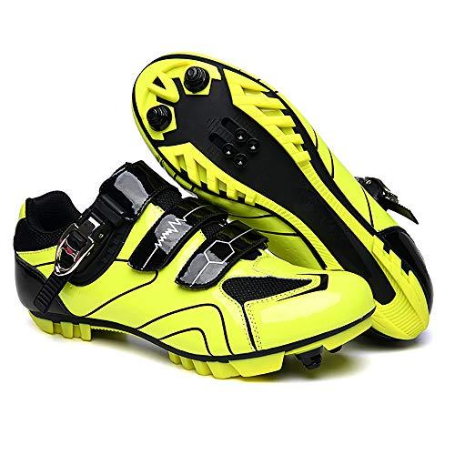 LU-Model Zapatillas de Ciclismo Extreme 3.0 MTB,con Suela de Carbono y Triple Tira de Velcro de sujeción ademas de Puntera de Refuerzo. Yellow-44