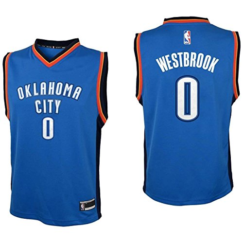 OuterStuff Youth Russell Westbrook Oklahoma City Thunder #0 Road Jersey Blue (Youth Small 8)