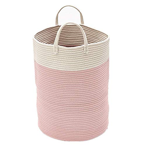 WJGJ Laundry Hamper Laundry Basket Storage Bin Extra Large Sturdy Cotton Rope Laundry Basket Washable Pom Pom Laundry Hamper Baby Toys Container Storage Basket with Handle (Gray) (Color : Pink)