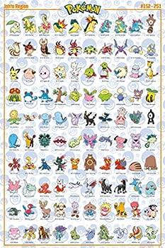 Pokemon - TV Show / Gaming Poster  100 Johto Region Pokemon   Size  24  x 36