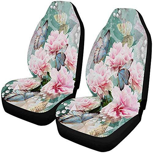 MOLLUDY Flower Peonies Butterflies Pearls Autositzbezüge, 2er-Set, Sitzkissen vorne, passend für die meisten Fahrzeuge