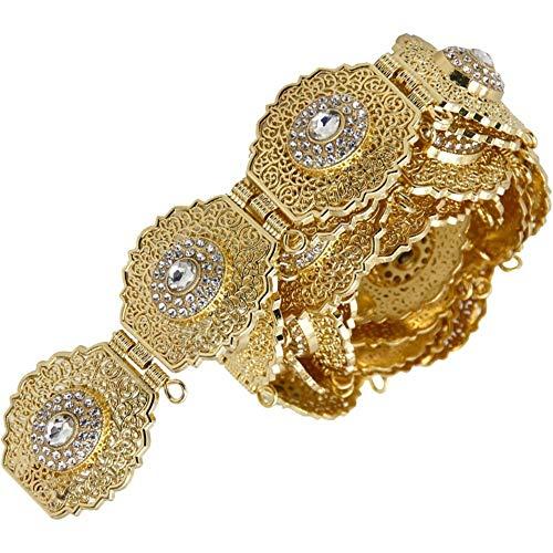 Sierriemen Chic Caftan Metalen Taille Riem Dunne Kettingen Kristal Voor Vrouwen Jurk Goud Zilver Kleur DUBAI Marokkaanse Bruiloft Sieraden Goud