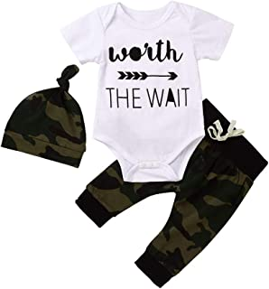Camo Baby Boy Clothes,Infant Camouflage Short Sleeve Romper Onesie Worth The Wait Newborn Outfit