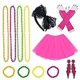 80s Jahre Kostüme für Frauen Mädchen Erwachsene, Frauen Kleider Partyzubehör Neon mit Tutu...