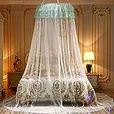 Redonda romántica decoración mosquitera de encaje princesa cortina cúpula cama baldaquino red para interior dormitorio niña blanco Blanco