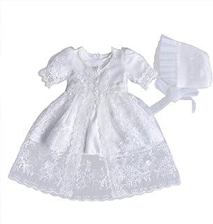 YeahiBaby Falda de Princesa de Encaje Flores Blanca con Sombrero para Traje de Foto de Bautizo y Bienvenida de Bebé Recién Nacido Niñas Talla 3