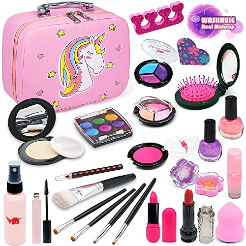 Enjoybot Kids Washable Makeup Toy Girls - 2021 Newest Real Kids Makeup Kit for Girls ,Kids Play Washable Makeup Set , Best Girl Gifts for 3/4/5/6/7year