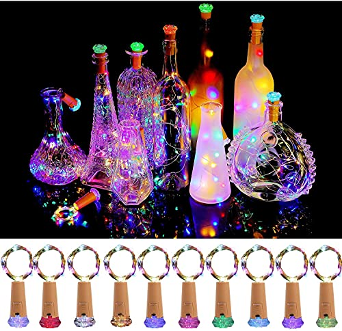 Wine Bottle Lights with Cork 10 Pack Fairy Battery Operated Mini Lights Diamond Shaped LED Cork Lights for Wine Bottles DIY Party Decor Christmas Halloween Wedding Festival Multi-colored-10pieces