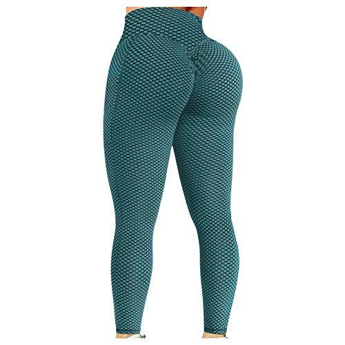 EUCoo TikTok - Leggings de levantamiento de glúteos de burbujas para mujer, cintura alta elástica, para fitness, correr, atlética, yoga