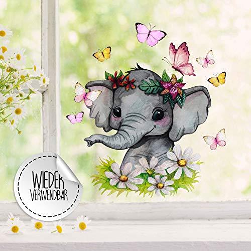 ilka parey wandtattoo-welt Fensterbilder Fensterbild Elefant Blumen Schmetterlinge wiederverwendbar Frühling Fensterdeko bf61 - ausgewählte Farbe: *bunt* ausgewählte Größe: *2. Elefant mit Blumen*