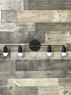 Wall Sconce Matte Black 4 Bulb Vanity Light Fixture Bathroom Lighting Mid Century Modern Fixture Contemporary Lighting