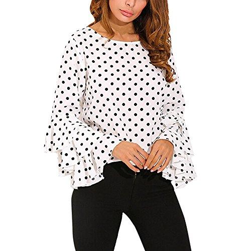 Proumy Camiseta Blanca Mujer de Algodón Blusa a Lunares Camisa Manga Larga con Volantes Vestido Elegante Tops Estampado Traje de Talla Grande
