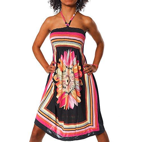 Diva-Jeans Damen Sommer Aztec Bandeau Bunt Tuch Kleid Tuchkleid Strandkleid Neckholder H112, Größen:Einheitsgröße, Farben:F-027 Schwarz