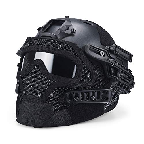 ActionUnion PJ Fast Tactical Helmet Airsoft Full Face Mask with Goggles Molle Mesh Breathable Eye Protection for Military CS Paintball Shooting Hunting Cycling Motorcycle Outdoor Sport