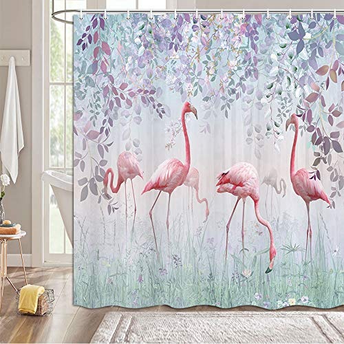 MERCHR Pink Flamingo Shower Curtains with Hooks, Botanical Green Leaves Shower Curtain Tropical with Purple Colorful Plants, Flamingo Nature Flower Shower Curtain for Bathroom Decor 69X70in