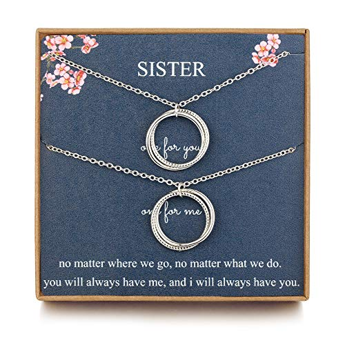 J.Charm Sister Necklaces for 2 Sister Gifts from Sister Sterling Silver Necklace Infinity Double Circle Soul Sister Gifts for Women