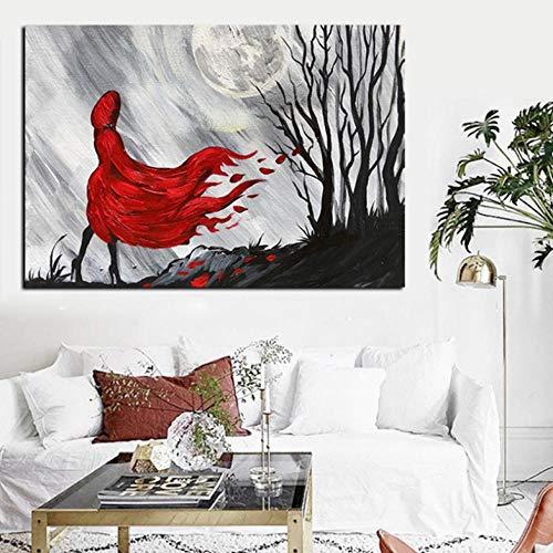 Lcgbw Print Moderne Abstracte Figuren Rood Lang Haar Meisje Houten Olieverfschilderij op Canvas Poster Muurfoto voor Woonkamer Picture Decor 60x120cm Doek + Frame