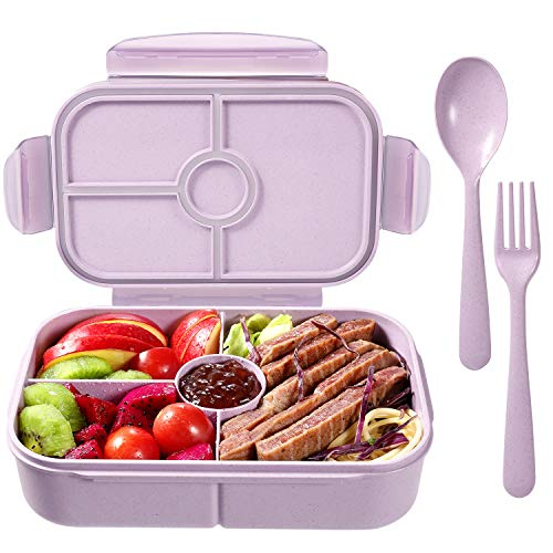 Bento Boxes Lunch Containers with 4 Compartments Bento Lunch Box Microwave/Freezer/Dishwasher Safe (Flatware Included,Light Purple)