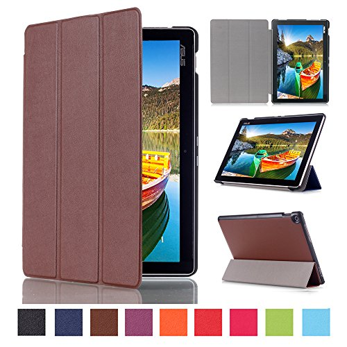 WindTeco ASUS ZenPad 10 Hülle, Ultra Dünn Leder Schutzhülle mit Auto Aufwachen/Schlaf Funktion für ASUS Zenpad 10 Z301MFL / Z2301ML / Z300M / Z300C / Z300CG / Z300CL Tablet, Braun