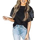 YANFANG Camiseta Tops Moda Mujer Color Empalme Lentejuelas Suelta Cuello Redondo Manga Corta Cortos De para...
