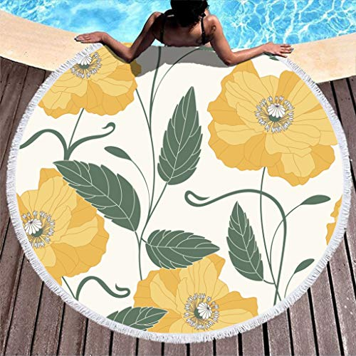 Lolyze Toalla de playa de microfibra con diseño de flores amarillas y redondas, para dos personas, color blanco, 150 cm
