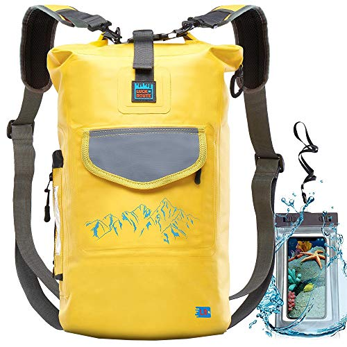 Waterproof Dry Bag for Camera - Submersible Backpack with Double Fixing Lock and Smart Storage - Drybags for Kayak Boating, Float, Canoe, and Other Water Activities (Yellow, 20l)