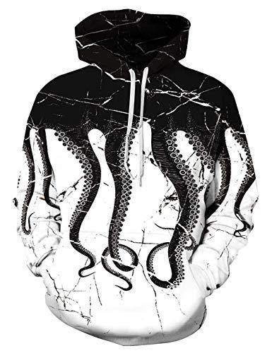 ALISISTER Felpa Octopus 3D Funny Stampa Felpe Uomo Ragazzo con Cappuccio Manica Lunga Bianco e Nero Hoodies Pullover Sweatshirts XXL