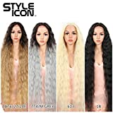 "Style Icon 41"" Lace Front Wigs Long Wavy Synthetic Wigs with Baby Hair Half Hand Tied 130% Density Wigs (41', 1B)"