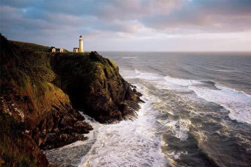 Volwassen Legpuzzel 1000 Stuk Houten Puzzel Lighthouse Beach Spray Waves Rock Zeer Goed Educatief Spel