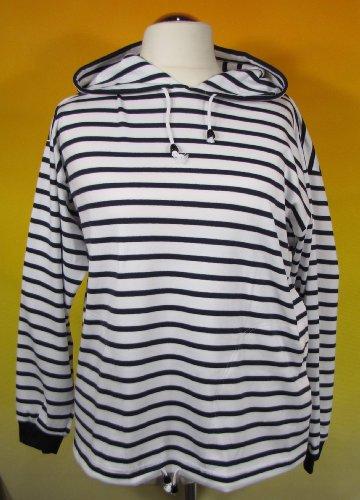 Bretonisches Kapuzenshirt Streifen Hemd weiß / blau gestreift 2900_04 von Modas Größe 42 (Damen) / 50 (Herren)