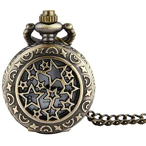 Taschenuhren Taschenuhr Bronze Trompete voller Stern Retro Taschen-Uhr-Stern-Taschen-Uhr-Trompete Kette Gold Unisex (Size : 4.7x1.5cm)