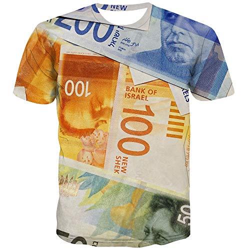 Herren-T-Shirt mit Geld, Israel, lässig, Vintage, Harajuku, 3D, Gothic, Anime, Kleidung Gr. L, bunt